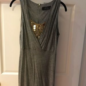 Grey midi dress with some sequins in the front